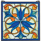 Design Toscano Mokara Orchid Trefoil Floral Stained Glass Window