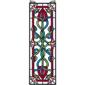 Design Toscano Pink Dahlia Tiffany Style Stained Glass Window