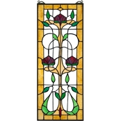 Design Toscano Ruskin Rose Three Flower Tiffany Style Stained Glass Window 10 x 25