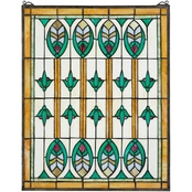 Design Toscano Elmslie Arts and Crafts Stained Glass Window 20 x 25
