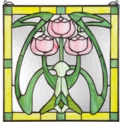 Design Toscano Glasgow Basket Tiffany Style Stained Glass Window