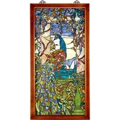 Design Toscano Peacock with Wisteria Wood Framed Stained Glass Window