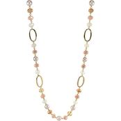 Carol Dauplaise Goldtone Long One Row Link and Bead 34 In. Necklace