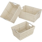 Whitmor Split Rattique Set Of 3 Baskets