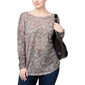 INC International Concepts Plus Size Metallic Camouflage Sweater