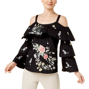 INC International Concepts Petite Ruffled Cold Shoulder Top