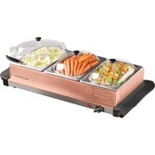 Nostalgia Electrics Copper 3 Station 4.5 Quart Buffet Server and Warming Tray