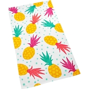Martha Stewart Collection Tossed Pineapple Graphic Print Cotton Beach Towel