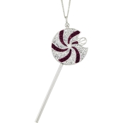 Simone I. Smith Platinum over Sterling Silver Crystal Lollipop Pendant 18 in.