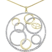 Simone I. Smith 18K Yellow Gold Over Sterling Silver Crystal Pendant 18 in.