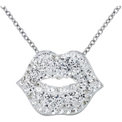 Simone I. Smith Platinum over Sterling Silver Crystal Lip Pendant 18 in.