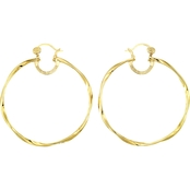 Simone I. Smith 18K Yellow Gold Over Sterling Silver Twist Round Hoop Earrings