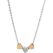 Fossil Heart Tri Tone Steel Necklace