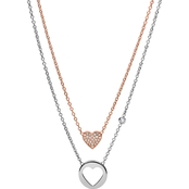 Fossil Double Heart Two Tone Steel Pendant Set