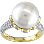 Michiko South Sea Pearl and 3/4 CTW Diamond Cocktail Ring in 14K Yellow Gold