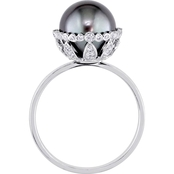 Michiko Tahitian Pearl and 1/4 CTW Diamond Vintage Cocktail Ring in 14K White Gold