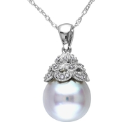 Michiko South Sea Pearl and Diamond Accent Vintage Necklace in 14K White Gold