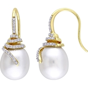 Michiko South Sea Pearl and 1/3 CTW Diamond Spiral Drop Earrings in 14K Yellow Gold