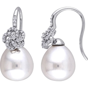 Michiko South Sea Pearl and 1/4 CTW Diamond Floral Drop Earrings in 14K White Gold