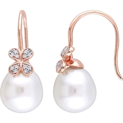 Michiko South Sea Pearl and 1/8 CTW Diamond Petal Floral Earrings in 14K Rose Gold