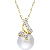 Michiko South Sea Pearl and 1/10 CTW Diamond Swirl Drop Necklace in 14K Yellow Gold