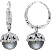Michiko Tahitian Pearl and 1/2 CTW Diamond Vintage Drop Earrings in 14K White Gold