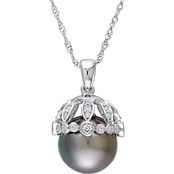 Michiko Tahitian Pearl and 1/4 CTW Diamond Vintage Necklace in 14K White Gold