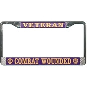 Mitchell Proffitt Veteran Combat Wounded Purple Heart Chrome License Plate Frame