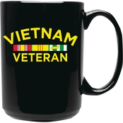 Mitchell Proffitt Vietnam Veteran with Campaign Ribbons Black Ceramic Mug