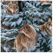 Wild Wings Narragansett Creek Pine Wolves Fabric by the Yard