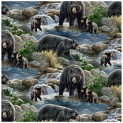 Wild Wings Cool Waters Bear Scenic Fabric by the Yard