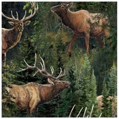 Wild Wings Lazy Afternoon Elk and Pines Fabric by the Yard