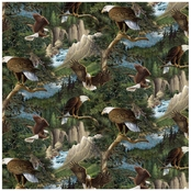 Wild Wings Flying High Packed In Trees Fabric by the Yard