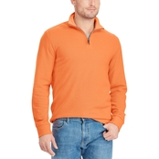 Chaps Cotton Blend Quarter Zip Mock Neck Pullover