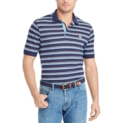 Chaps Cotton Mesh Striped Polo Shirt