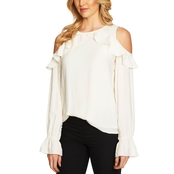 CeCe Ruffled Cold Shoulder Textured Blouse