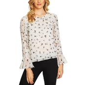 CeCe Dotty Silhouettes Ruffled Blouse