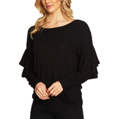 CeCe Tiered Ruffle Shoulder Ribbed Knit Top