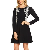 CeCe Embroidered Lace A Line Sweater Dress