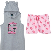 Jelli Fish Kids Girls 2 pc. Hooded Cat Meow or Never Pajama Set
