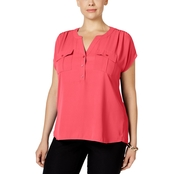 INC International Concepts Plus Size Mixed Media Utility Shirt