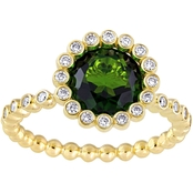Sofia B. 14K Yellow Gold Chrome Diopside and 1/4 CTW Diamond Halo Scalloped Ring