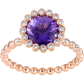 Sofia B. 14K Rose Gold Amethyst and 1/4 CTW Diamond Halo Scalloped Ring
