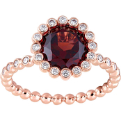 Sofia B. 14K Rose Gold Garnet and 1/4 CTW Diamond Halo Scalloped Ring