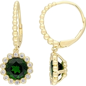 Sofia B. Chrome Diopside and 1/4 CT TW Diamond Halo Scalloped Earrings