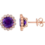Sofia B. Amethyst and 1/4 CT TW Diamond Halo Scalloped Stud Earrings