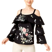 INC International Concepts Ruffled Cold Shoulder Top