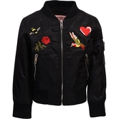 Urban Republic Girls Poly Twill Bomber Jacket with Patches