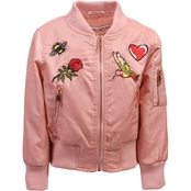 Urban Republic Little Girls Poly Twill Bomber Jacket with Patches
