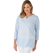 Alfred Dunner Missy Texture Spliced Top